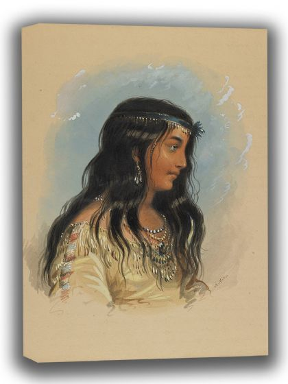 Miller, Alfred Jacob: A Young Woman of the Flat Head Tribe. Fine Art Canvas. Sizes: A4/A3/A2/A1 (003820)